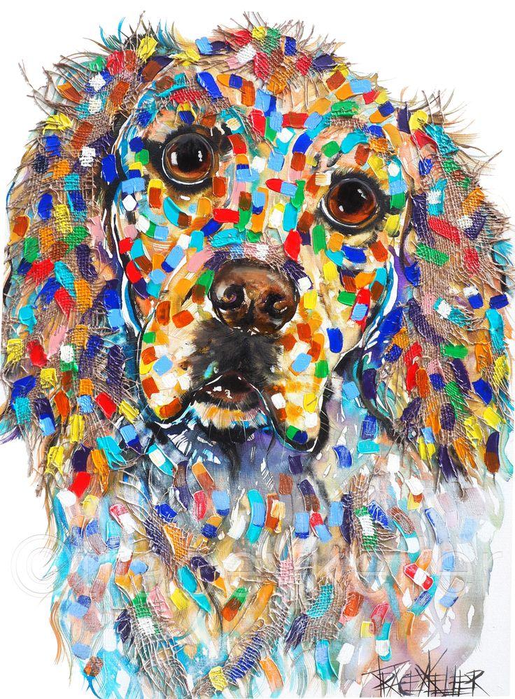 The Golden Smile | golden retriever pet portrait painting by tracey keller