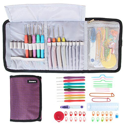 Damero Ergonomic Crochet Hooks Set Crochet Accessories Kit Roll Up Storage Bag with Soft Grip Crochet Needles and Knitting Accessories Purple *** Want to know more, click on the image.