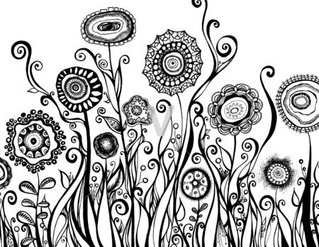 Zentangle flowers - PRETTY! Love the stark black/white...
