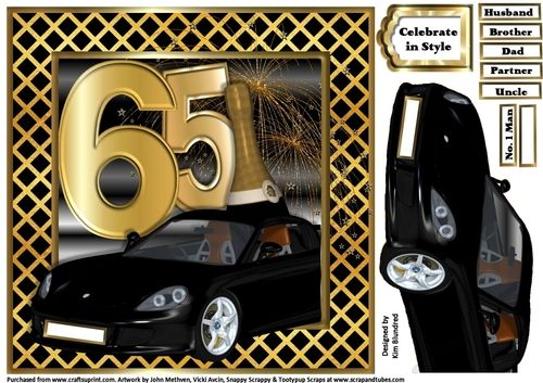 Special Birthday Sports Car - Age 65 by Kim Blundred This sheet has a topper designed for use with an 8x8 card blank. 1 decoupage layer is included on the sheet along with a variety of reg-plate relations and 1 text panel.The design is a sleek sports car behind which sits the special age a bottle of champagne and fireworks. A great fun quick card to make for those special birthdays.