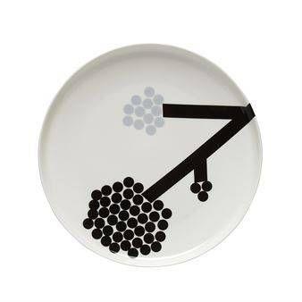 Marimekko Hortensie lautanen Ø 25 cm valkoinen-musta