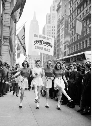 Skate to work girls, 1940's.