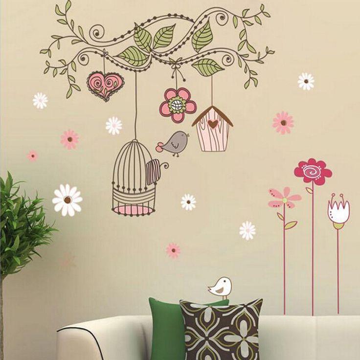 Birdcage-vides-flores-arte-Mural-etiqueta-de-la-pared-del-vinilo-Kids-Room-Decor.jpg (1000×1000)