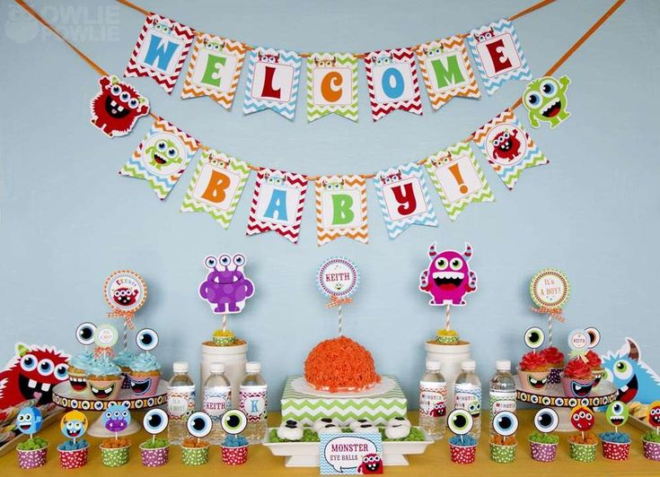 Monster Bash Colorful Baby Shower | CatchMyParty.com