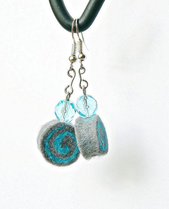 Earrings no100 felt earrings very light swirl by MarudaFelting