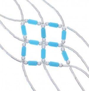 Liquid Silver Blue Turquoise Basket Weave Bracelet LS179BT-1