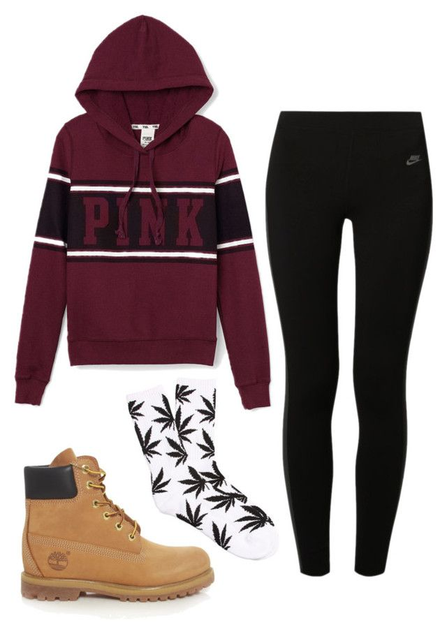 """""""fall"""" by maddiehow ❤ liked on Polyvore featuring Victoria's Secret PINK, Timberland, NIKE and HUF"""