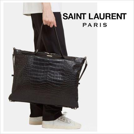 ●2017●Saint Laurent クロコ 2WAY 54×40 トートバッグ  中  サンローラン 2017 ファッション