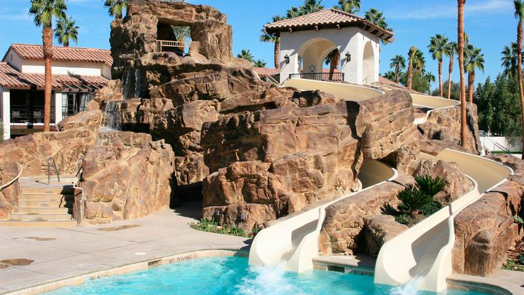 Kid friendly, Omni Rancho resort with water slides, splash pads in rancho mirage near Palm Springs.