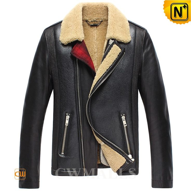 Men's Sheepskin Shearling Aviator Jacket CW858338 Classics men's sheepskin aviator jacket crafted from imported natural sheepskin with supple plush fur shearling material, fitted mens sheepskin jacket featuring with shearling fur collar, quilted design side and zip closure and zip pockets.  www.cwmalls.com PayPal Available (Price: $1457.89) Email:sales@cwmalls.com