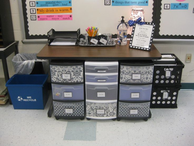 Organization idea: mrswhitehead.com:: Supply central. This is where the kids get sharpened pencils, erasers, paper, and morning work. Math manipulatives are stored in the bins underneath. The black crates are where the kids file away their graded papers after they've been signed.