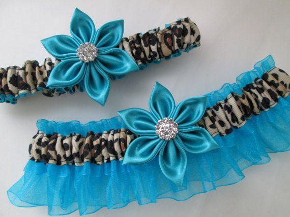 Turquoise Blue WEDDING Garter Set Cheetah by GibsonGirlGarters, $45.00