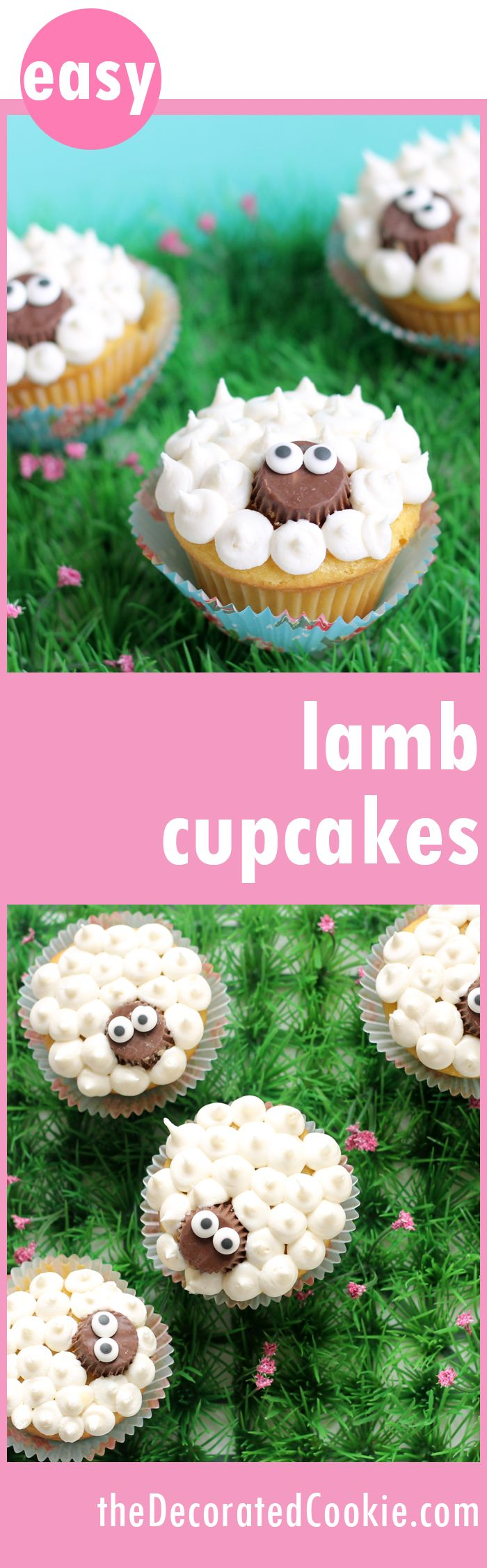 super easy lamb cupcakes for Easter