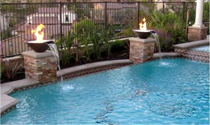 Moderno - Fire and Water Fountain Feature | Fire bowls in ...