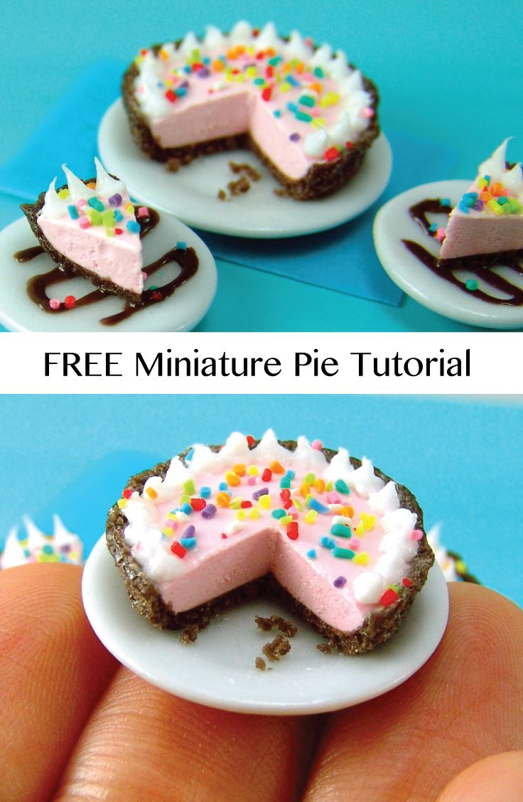 DIY Make this dollhouse miniature pie - FREE tutorial!