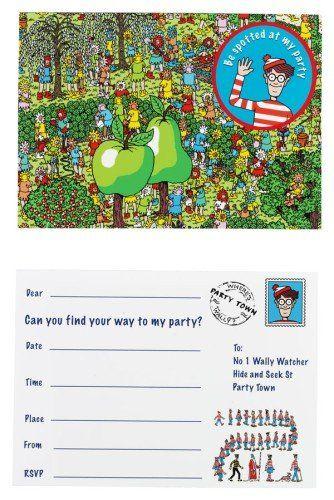 Where's Wally Post Card Style Party Invitations