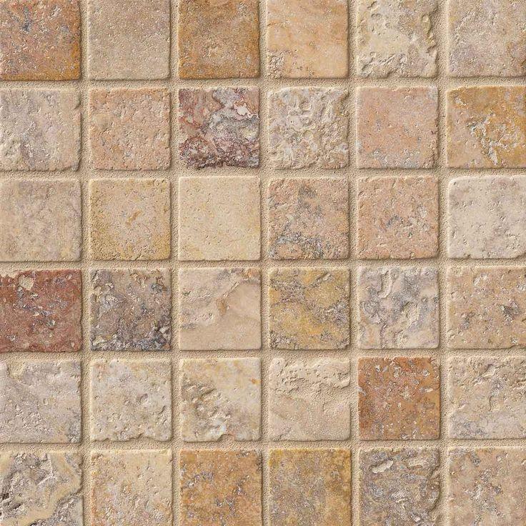 2x2 Scabos Travertine Square Pattern Tumbled Finish Mosaic