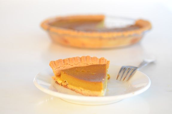 Paleo Pumpkin Pie is a quick and easy recipe. The filling is made with only 6 ingredients: canned pumpkin, eggs, coconut milk, honey, cinnamon and nutmeg.