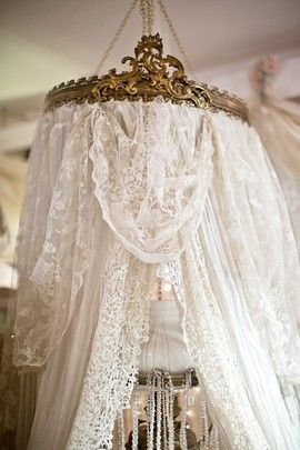 Shabby Cottage Chic ❤ White Lace for the bedroom. I have a crown, just need to decide where and how to use it in the bedroom. Even considering over the mirror above the sink in the bathroom. Just a thought.