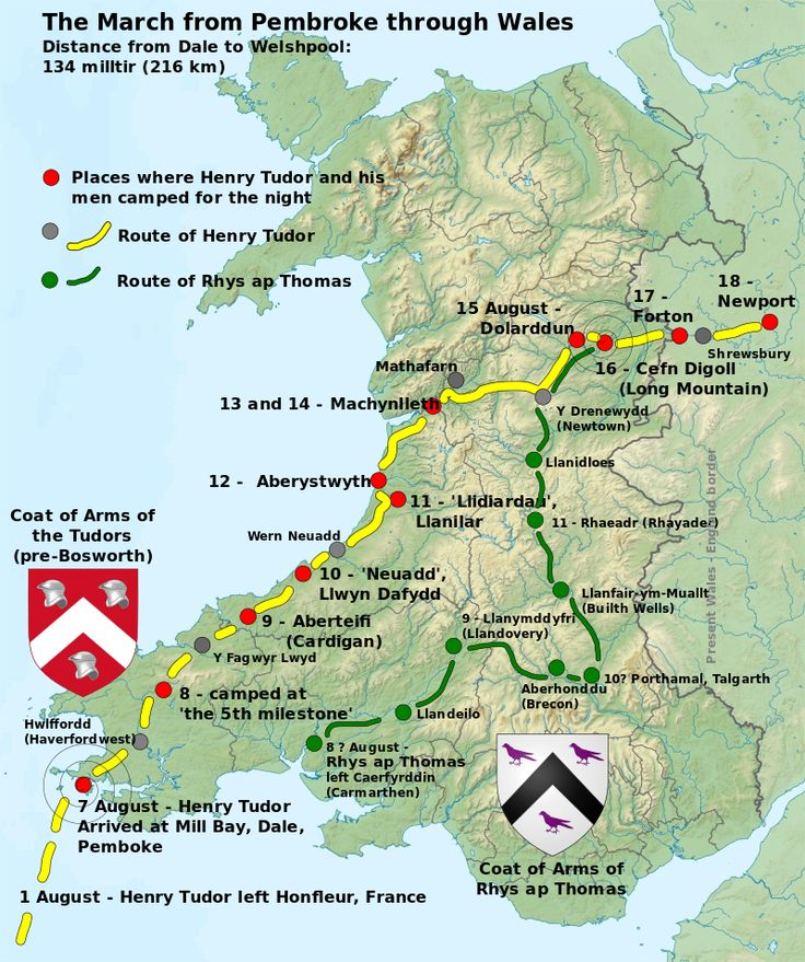 Henry Tudor and Rhys ap Thomas' march through Wales translated from Welsh - Battle of Bosworth Field - Wikipedia, the free encyclopedia