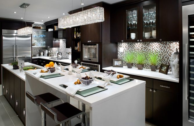 kitchens - crystal, box, pendant, light, chocolate, brown, stained, kitchen, cabinets, white stone, countertops, brown, piston, modern, stools, glass front, cabinets, brown, blue, glass, tiles, backsplash, glossy, white, lacquer kitchen, chrome, faux, bamboo, hardware, floating shelves,  #Home #Kitchen #Design