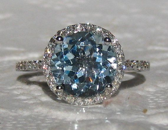 Aquamarine Engagement Ring White Gold Diamond by JuliaBJewelry $1600