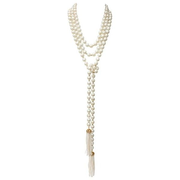 Preowned 1980s Chanel Long Pearly Beads Necklace With Tassels (8.885 RON) ❤ liked on Polyvore featuring jewelry, necklaces, beaded necklaces, multiple, chanel jewelry, beaded tassel necklace, rhinestone jewelry, 80s necklace and knot necklace