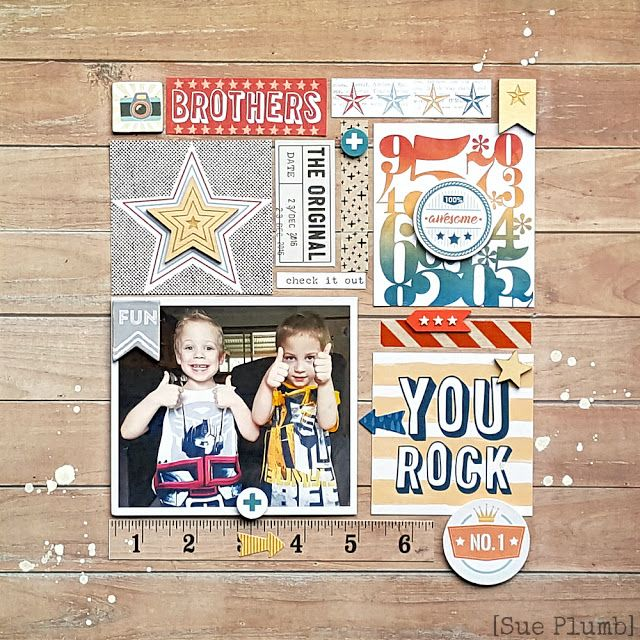 You Rock | Scrap the Boys June challenge | Sue Plumb