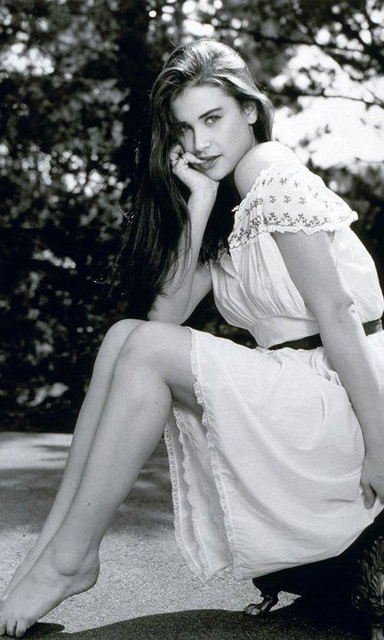 Young Demi Moore in a White Dress