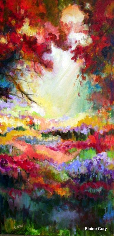 Large Landscape Painting Original Oil  24 x 48  by Elaine Cory. $675.00, via Etsy.
