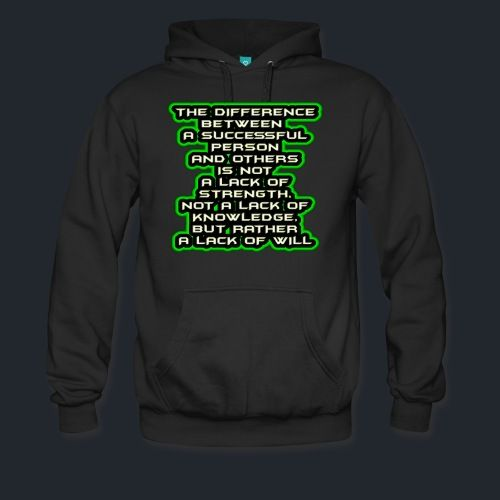 Motivation Men's Premium Hoodie -  'The Difference Between A Successful Person And Others'. Cozy, comfortable, and Heavyweight premium hoodie. 80% cotton 20% polyester. Colors: Black, Navy, Charcoal.