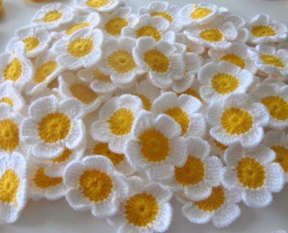 Tığ işi papatya çiçeği