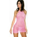 Sexy Pink Crochet Net Halter Style Mini Dress & Thong (Apparel)By NNW Sexy Dresses