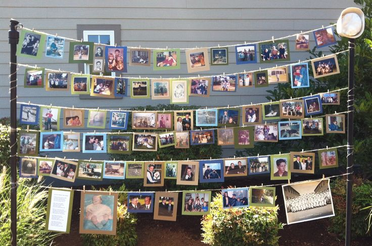 Memorial service photo display to be made into scrapbook after service
