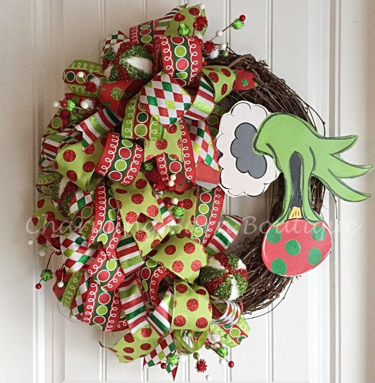 Christmas Wreath, Grinch Wreath, Grinch Hand with Ornament, Holiday Wreath, Grapevine Wreath, Grinch Decor, Christmas Decor, The Grinch by CharmingBarnBoutique on Etsy