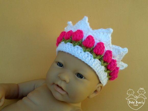 Coroa Em Crochê BABY ROSINHAS 3