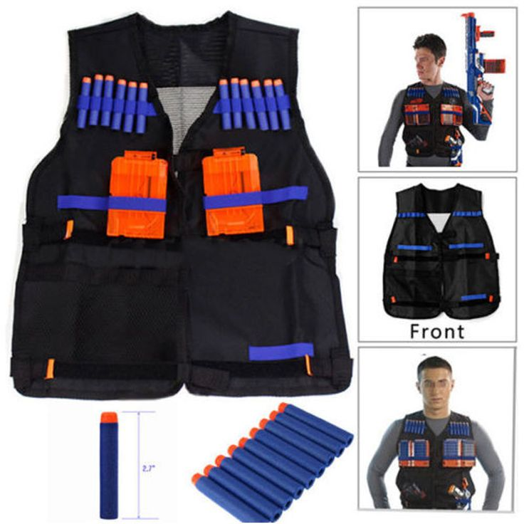 Tactical Vest w/Storage Pocket Pockets for Nerf N-Strike Team Gifts For Kids #Unbranded