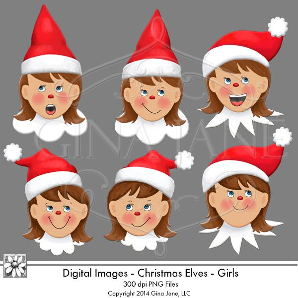 Elf on the Shelf theme Christmas Elf Graphics, Elf Girls Faces by Gina Jane for DAISIE COMPANY: Printable Digital Paper Crafts, Clipart, Scrapbooking, Stamp, Party - DaisieCompany.com