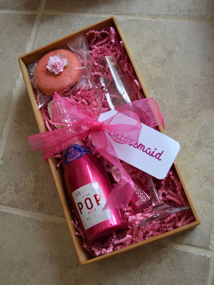 Bridesmaid gift - champagne, flute, essie nail polish (bachelorette bash) and a french macaroon :)