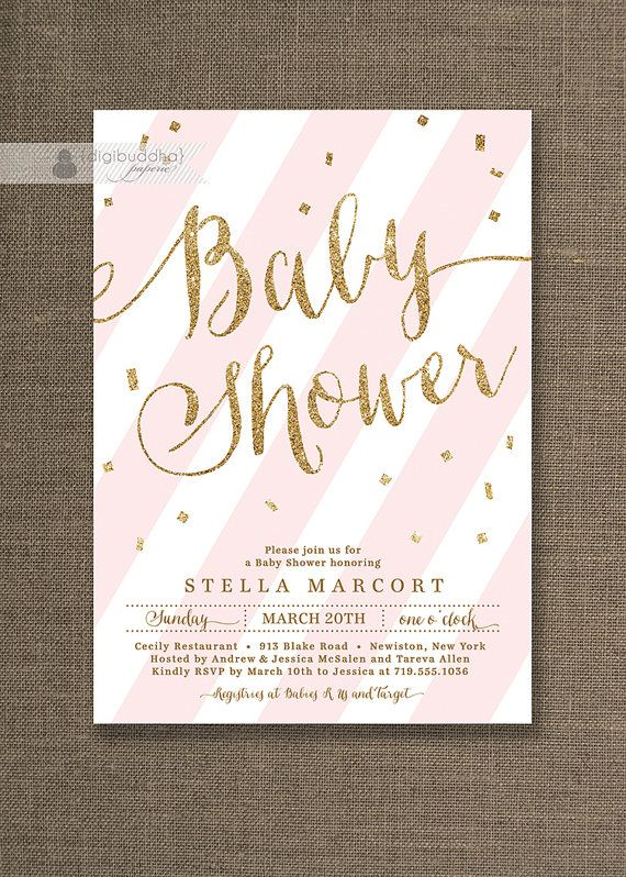 pink gold glitter baby shower invitation with pink stripes and gold