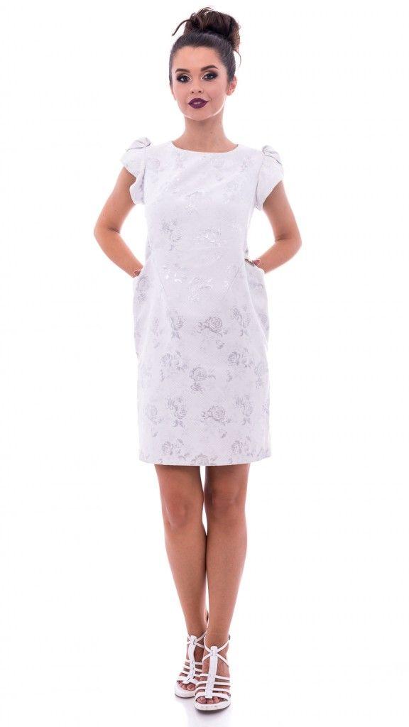 Rochie albă model argintiu