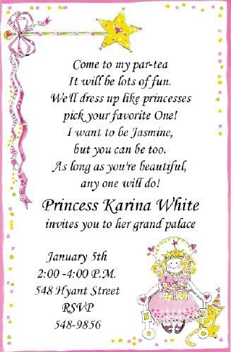 Little Princess Tea Party Invitations Wording To Invite Girls Dress Like Princesses