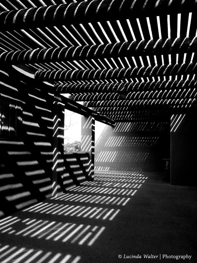 Black shadows-white light, horizontal-vertical-slanted shadows along with the wooden slabs