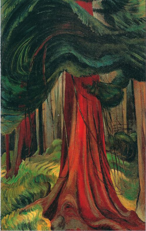 Emily Carr, The Red Cedar, 1933, Oil, 111.0 x 68.5 cm. Location: Vancouver Art Gallery,