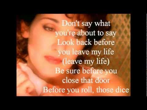 Celine Dion - Think Twice (lyrics) - YouTube look back before you leave my life be sure before you close that door...