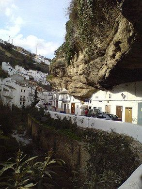 A Spanish town built into the cliffs.