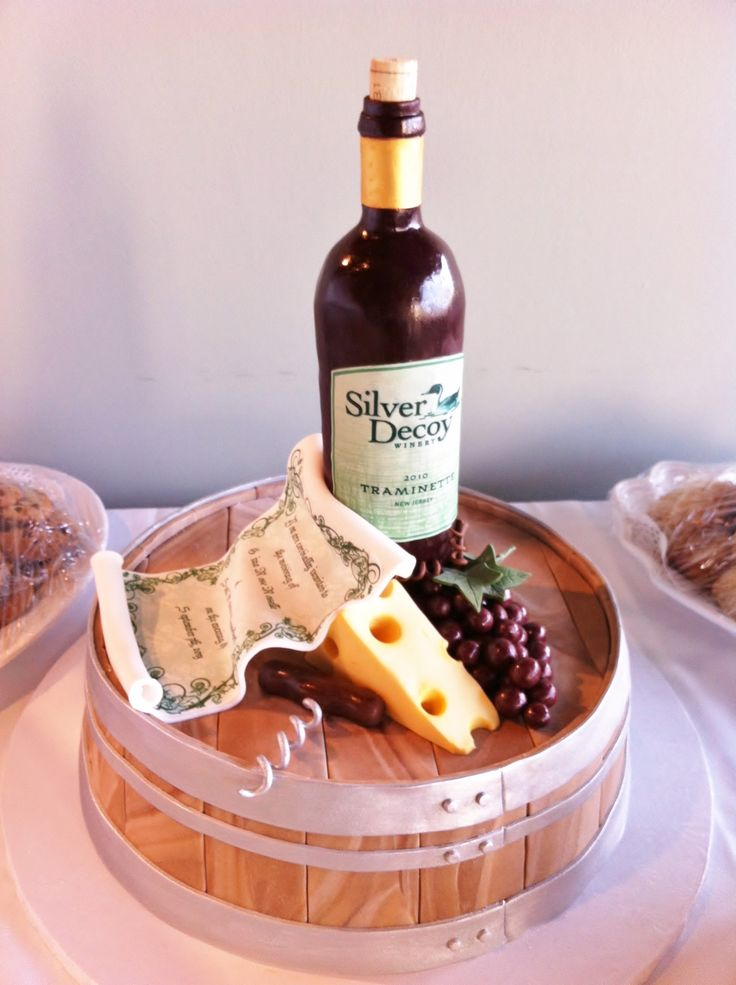 Wine bottle and barrel engagement dinner cake by The Vintage Cake. Everything is edible! www.thevintagecake.com
