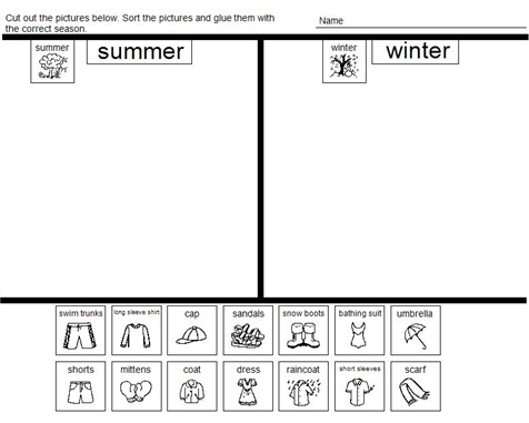 summer vs winter clothes sort content area science sorting activities kindergarten. Black Bedroom Furniture Sets. Home Design Ideas