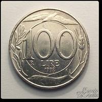 100 Lire Turrita 1998 Dritto: Foglie di ulivo, delfino, spiga, gabbiano ed il valore della moneta    Rovescio: Testa italia turrita volta a sinistra