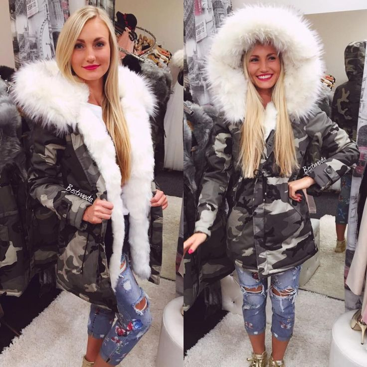 Army parka with white fur